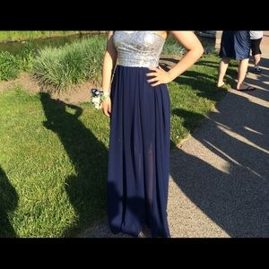 Navy blue and silver formal dress